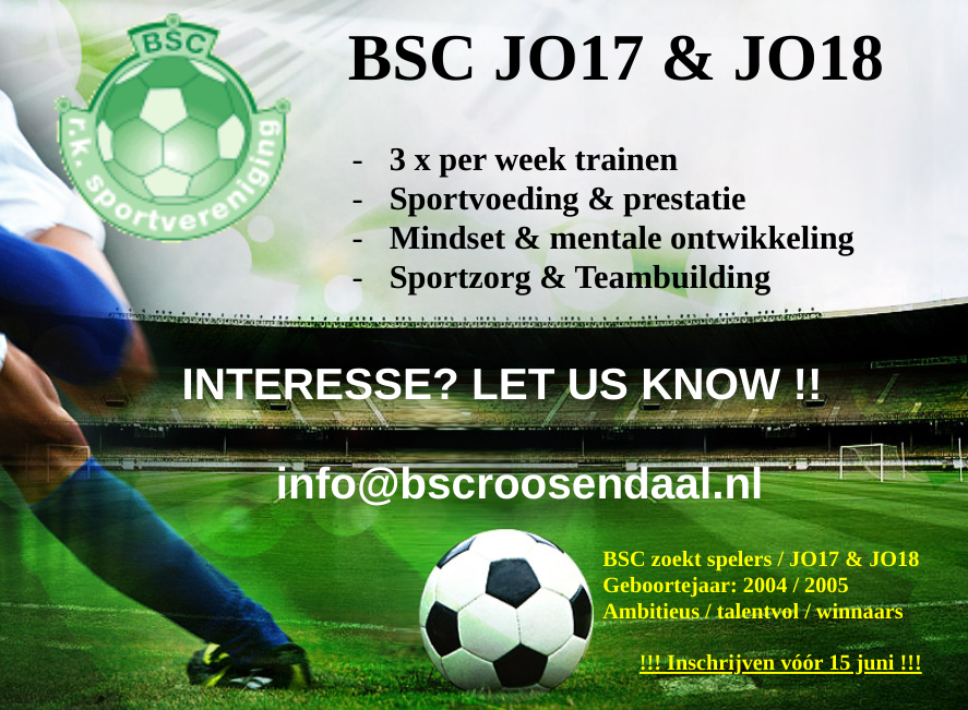 BSC zoekt spelers / JO17 & JO18