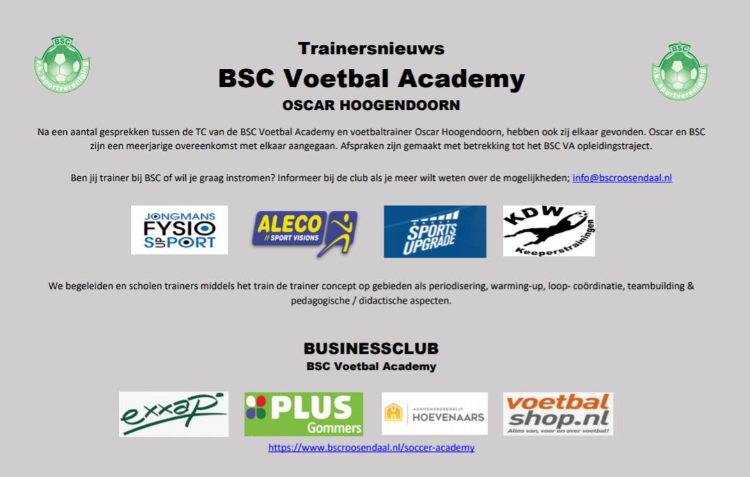 Trainersnieuws BSC Voetbal Academy ERIC VAN GASTEL & FABIAN SCHOLTENS